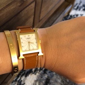 Hermès H Heure 18k gold plated watch